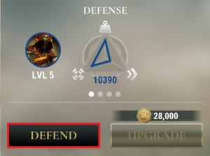Defend Button Highlighted